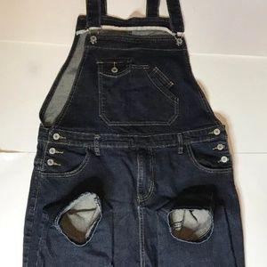 3xl Womens Denim Blue Jean Bib Overalls Slim Capri